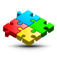 Puzzle Logo Design Colorful Jigsaw 3D Abst vector image
