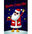 rock santa singing santa claus - rock star with vector image vector image