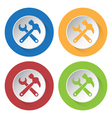 set of four icons - claw hammer with spanner vector image