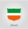 shield logo with shadow orange green template vector image