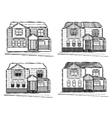 Sketch collection of village buildings vector image vector image