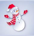 snowman character wearing santa hat vector image vector image