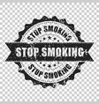 stop smoking scratch grunge rubber stamp vector image vector image