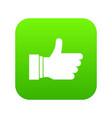 thumb up sign icon digital green vector image vector image
