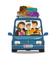 travel journey concept happy family rides in vector image vector image