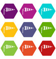 windsock icon set color hexahedron vector image vector image
