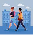 women in the city vector image vector image