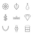 women jewelry icon set outline style vector image vector image