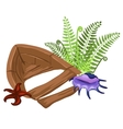 Wreckage of wooden boat grass and marine life vector image