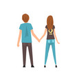 young man and woman holding hands happy romantic vector image vector image