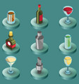 bar color isometric icons vector image