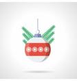 Xmas sphere bauble flat color icon vector image