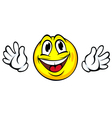 Yellow smiling face with hands in cartoon style vector image
