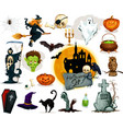 Full set of Halloween characters and elements vector image