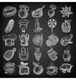 25 sketch doodle icons food on black background vector image