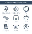 9 engine icons vector image vector image