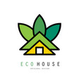 abstract logo of green house eco friendly vector image