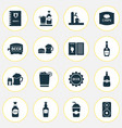alcohol icons set with bar menu tap barrel of vector image vector image