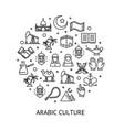 arab islamic sign round design template black thin vector image