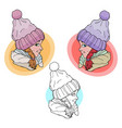 bagirl in winter hat vector image vector image