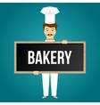 Baker Holds Signboard Design vector image