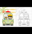 bear brothers cartoon on car coloring book or page vector image vector image