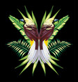 bird with tropical banana leaves in mirror style vector image vector image