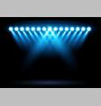 bright blue stadium arena lighting spotlight vector image vector image