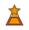 cartoon star trophy awards gold wooden vector image
