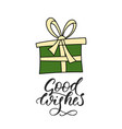 christmas card with hand lettering vector image vector image