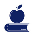 closed book with delicious apple silhouette style
