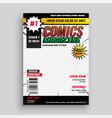 comic magazine book cover template design vector image vector image