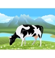 cow and rural meadow landscape vector image vector image