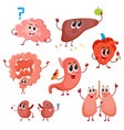 cute and funny healthy human organ characters vector image vector image