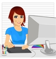 designer working with digital graphic tablet vector image vector image