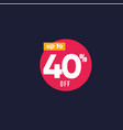 discount up to 40 off label template design vector image vector image
