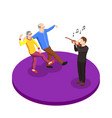 elderly couple leisure isometric composition vector image