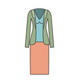 female clothes with skirt and blouse and jacket in vector image