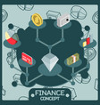 finance color isometric concept icons vector image vector image