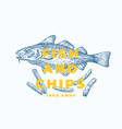 fish and chips abstract sign symbol vector image vector image
