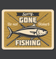 fish and crossed fishing rods retro poster vector image vector image