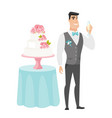 groom standing near cake with glass of champagne vector image vector image