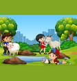 group of children and animal at the park vector image