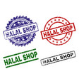 grunge textured halal shop seal stamps vector image