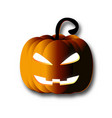 halloween pumpkin paper art on isolated white vector image