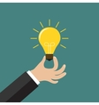 Hand holding light bulb Business idea concept vector image vector image