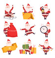 happy funny santa claus with presents collection vector image