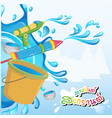 happy songkran day in thai word water splash bucke vector image vector image