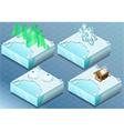 Isometric Arctic Igloo Aurora Sauna Snow Flake vector image