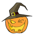Jack O Lantern Wearing A Witch Hat Winking vector image vector image